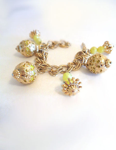 Gold Toned Bracelet with Yellow Beads - The Other Alley
