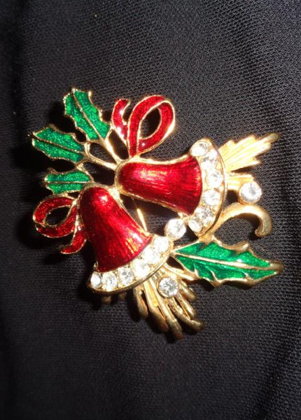 Gold Christmas Bell And Rhinestone Brooch - The Other Alley