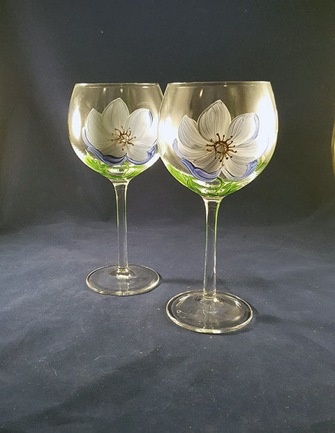 Hand Painted Tall Crystal Balloon Goblets - The Other Alley