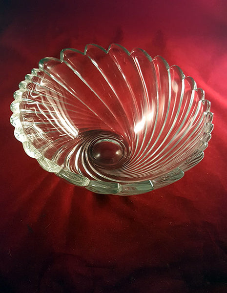 Lead Crystal Scalloped Swirl Serving Bowl - The Other Alley