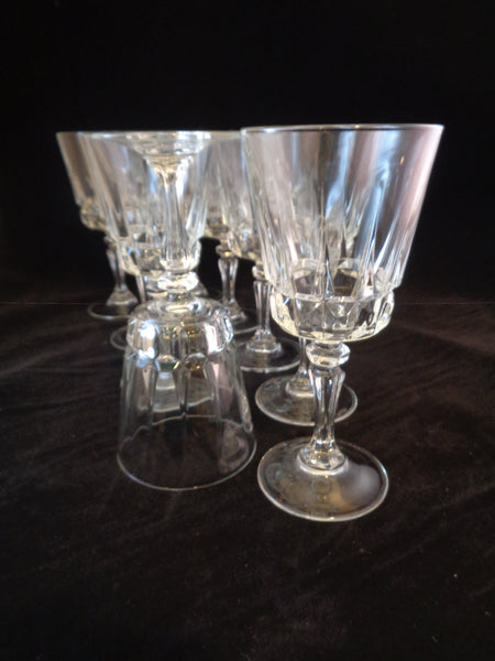 Stemware With Faceted Button Stems  S/9 - The Other Alley