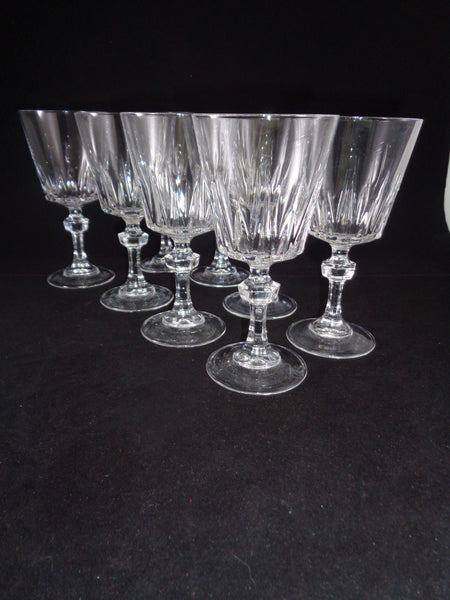 Crystal Goblets With Faceted Ball Stems  S/8 - The Other Alley