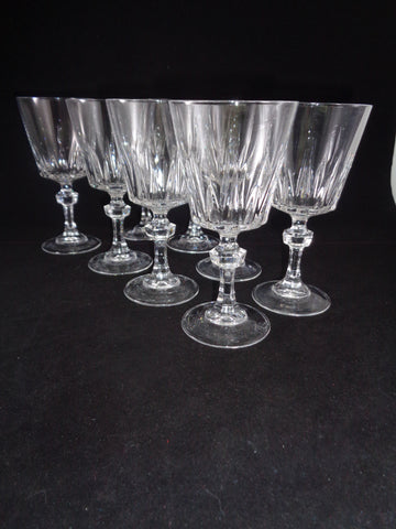 Crystal Goblets With Faceted Ball Stems  S/8