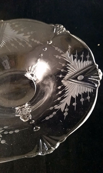 Depression Footed Glass Bowl with Fan Design - The Other Alley