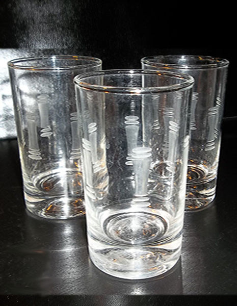 Etched Juice Glasses S/3  FREE SHIPPING...donated - The Other Alley