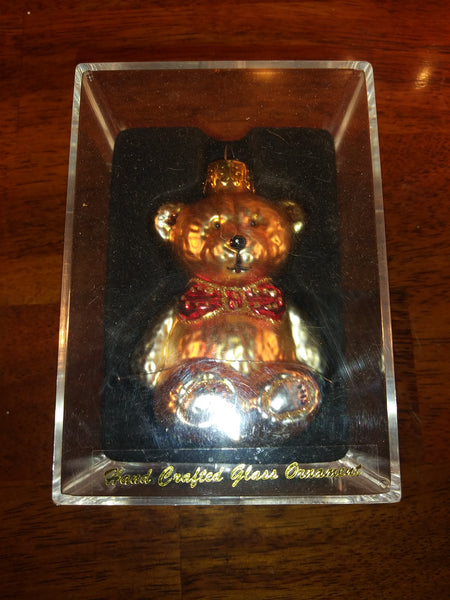 Hand Crafted Gold Ornament, Glass Teddy Bear With Red Bow Tie - The Other Alley
