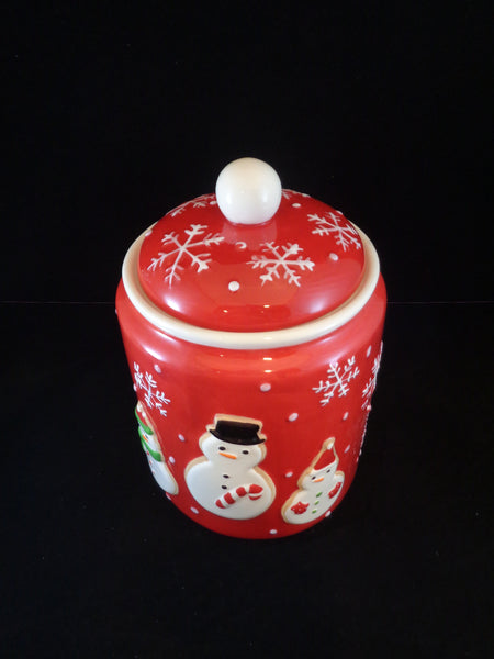 Red Snowman Cookie Jar - The Other Alley