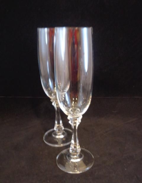 Crystal Flutes Faceted Stems  S/2