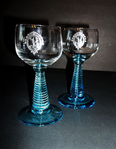 Aqua Stemmed Cordial Glasses S/2...YARD SALE - The Other Alley