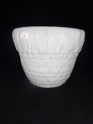 White Ceramic Weave Planter - The Other Alley