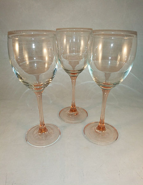 Pink / Peach Stem Glasses  S/3 - The Other Alley