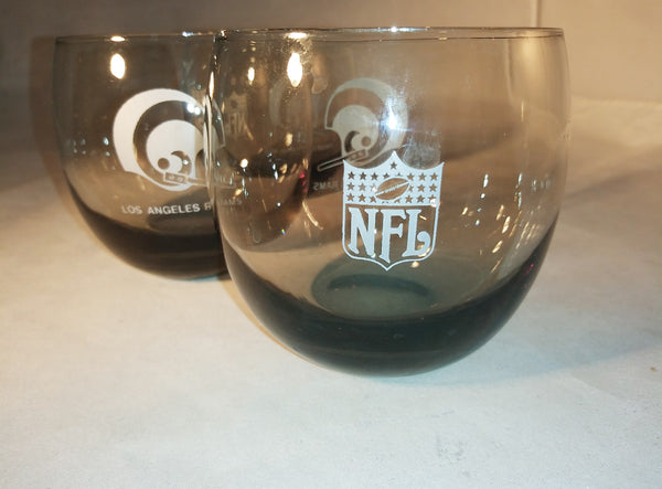 Vintage Los Angeles Rams Low Ball Glasses  S/3
