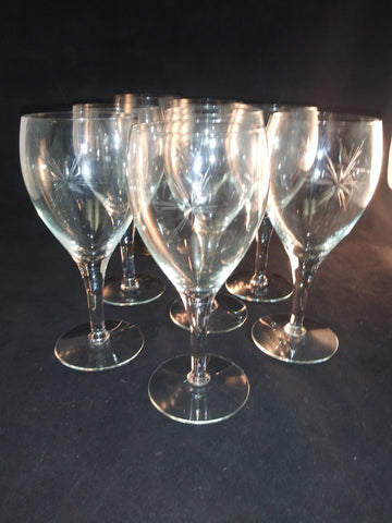 Cut Javit Star Wine Glasses  S/8