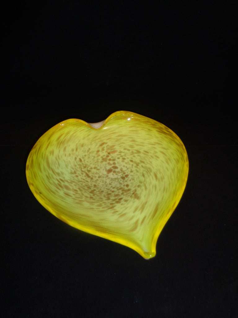 Murano Art Glass Yellow Heart Shaped Bowl