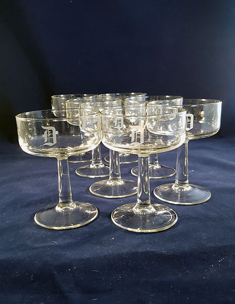 "Monogram ""D"" Champagne Coupes - The Other Alley"