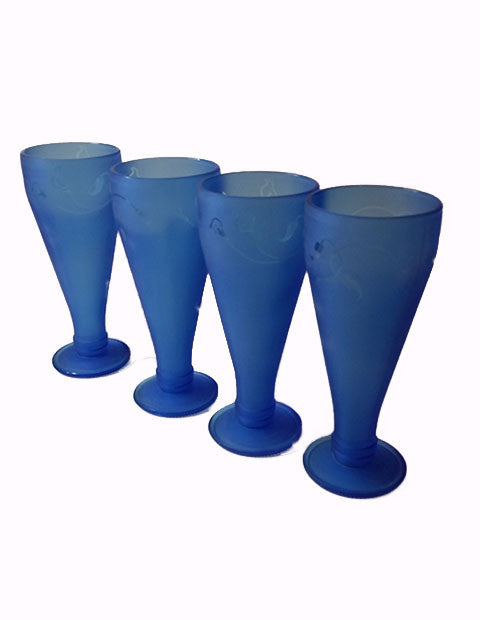 Recycled Restaurant Bottles - Frosted Blue Glasses - The Other Alley
