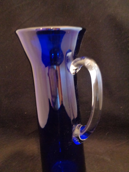 Tall Slender Cobalt Blue Pitcher