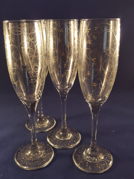Hand Painted Champagne Flutes - The Other Alley