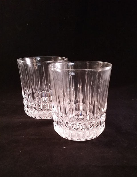 Pair of Old Fashioned Glasses Cut Vertical Lines - The Other Alley