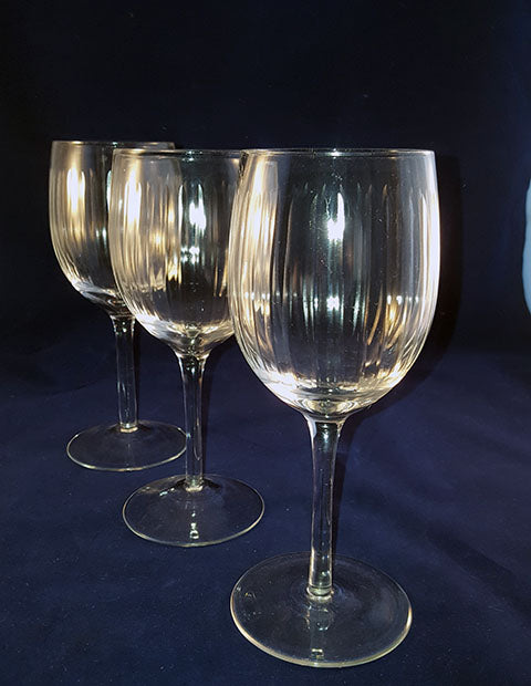 Tall Wine Goblets with Cut Ribbed Lines  S/3 - The Other Alley