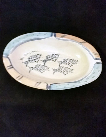 Original Signed by Artist Hand Painted Platter - The Other Alley