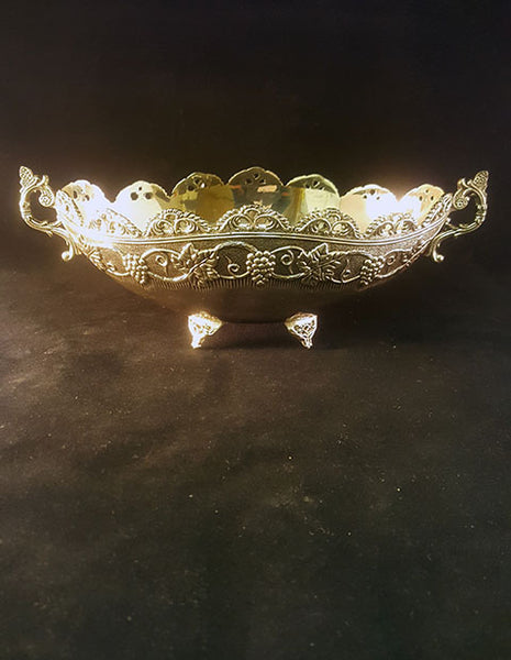 Ornate Oval Silver Plated Bowl - The Other Alley
