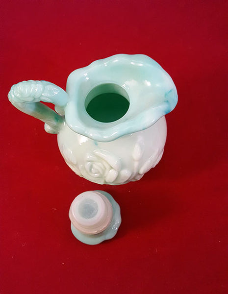 Vintage Avon Skin So Soft Green Milk Glass Pitcher - The Other Alley