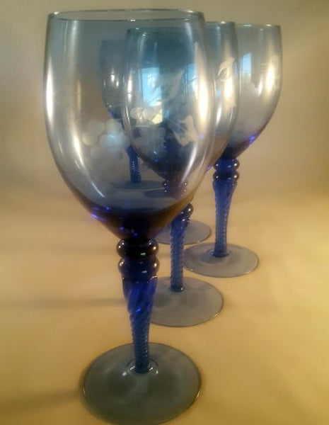 Sapphire Blue Etched Stemware, Twisted Stems  S/6 - The Other Alley
