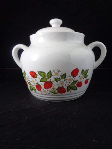 Strawberries & Cream Stoneware Cookie Jar/Soup Pot - The Other Alley