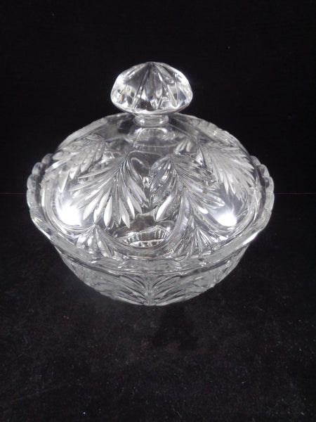 Large Crystal Cut Bowl With Lid