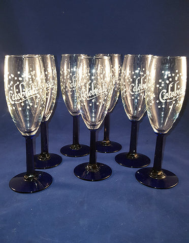 """Celebrate"" Cobalt Blue Faceted Stem Flutes - The Other Alley"