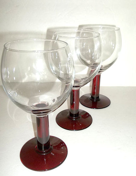 Cranberry Colored Stemware  S/3 - The Other Alley