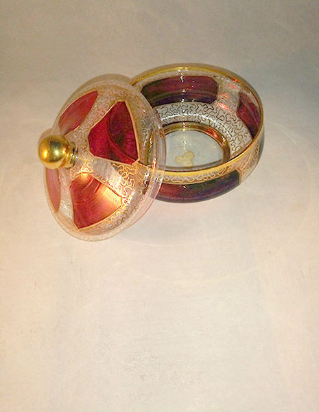 Famosa LPW Cranberry Glass Gold Trim Candy Dish W/Lid - The Other Alley