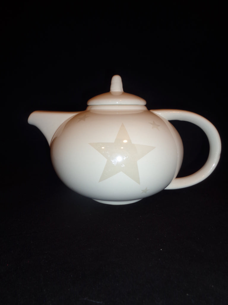 Ivory White Tea Pot With Beige Stars