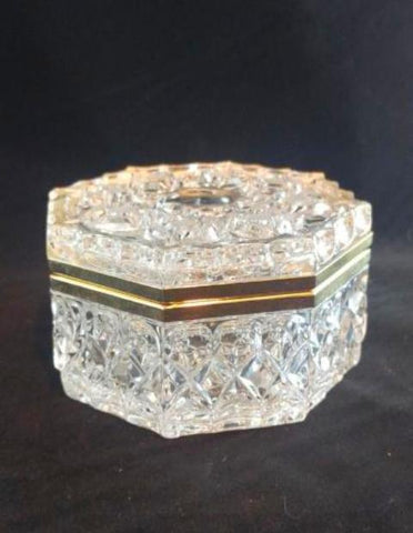 Glass Trinket Box With Gold Hinge Lid - The Other Alley