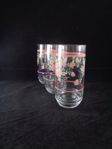 Vintage Glass Tumblers With Pink Roses