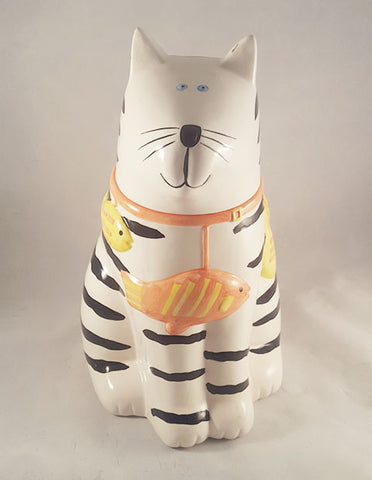 Pat Meyer Cat Cookie Jar With Fish