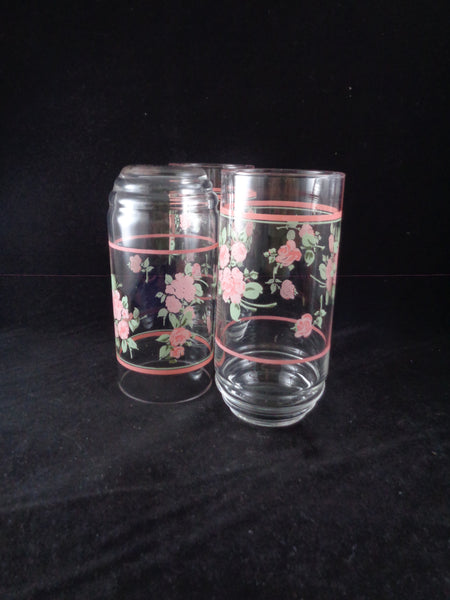 Vintage Glass Tumblers With Pink Roses - The Other Alley