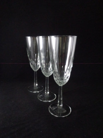 Champagne Flutes With Faceted Stem  S/3