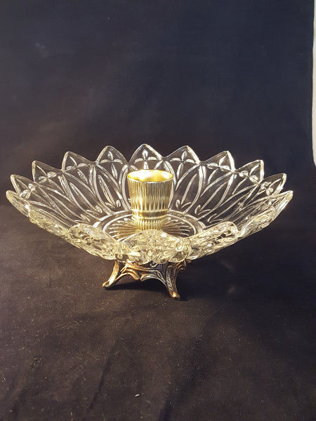 Vintage Glass Bowl Centerpiece With Pillar Candle Holder on Metal Pedestal - The Other Alley