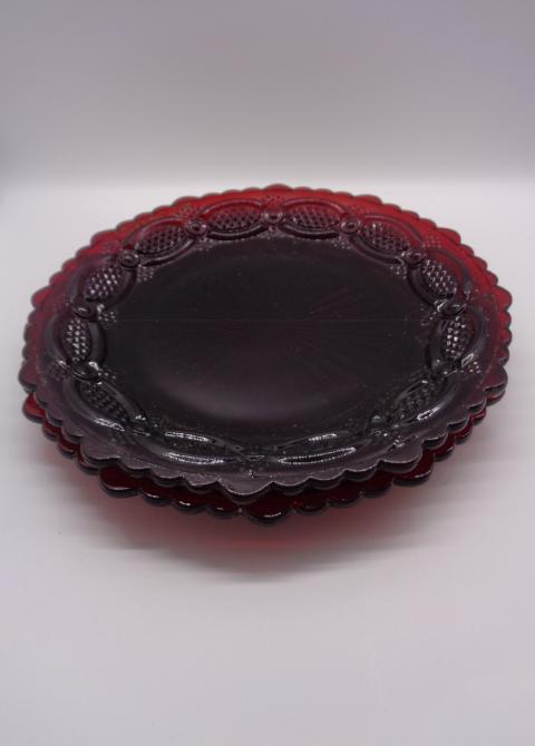 Vintage Avon 1876 Ruby Red Salad/Dessert  Plates S/2 - The Other Alley