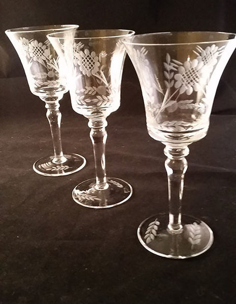Wheat Flower and Leaf Etched Stemware S/3 - The Other Alley