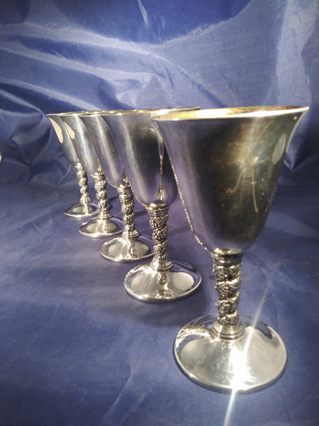 Silver Plated Metal Leaf Stem Goblets  S/5 - The Other Alley