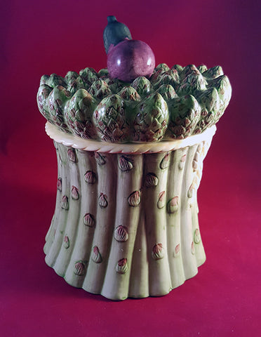 Asparagus Canister with Eggplant on Lid
