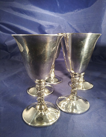 Silver Plated Metal Leaf Stem Goblets  S/5