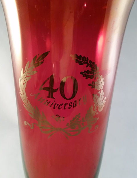 Ruby Red 40th Anniversary Vase With Gold Trim - The Other Alley