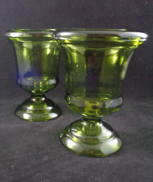 Green Depression Glass Footed Vase S/2