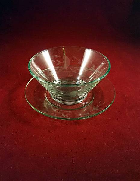 Princess House Etched Condiment Bowl With Plate - The Other Alley