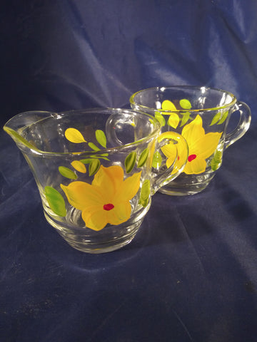 Glass Yellow Hand Painted Cream And Sugar Bowl