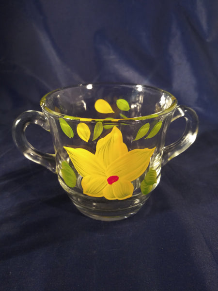 Glass Yellow Hand Painted Cream And Sugar Bowl - The Other Alley